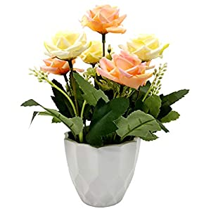 UIKKOT Artificial Fake Flowers Silk Bouquet Roses in Plastic Vase Sturdy Bottom Arrangements for Indoor Outdoor Decorations Wedding Party Home Videos Table Gift or MV (Pink and Yellow) 1