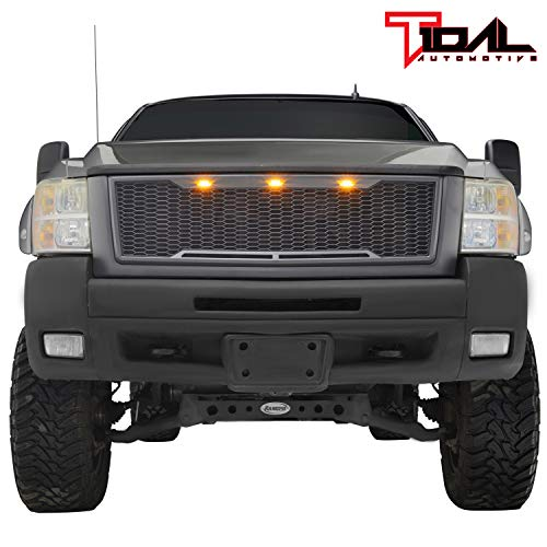 Tidal Replacement Silverado Upper Grille Full Grill - Charcoal Gray - With Amber LED Lights for 07-10 Chevy Silverado 2500 3500 Heavy Duty Diamond Plate Hood Vent