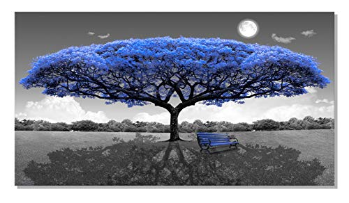 XOTOArt – Large Canvas Wall Art Blue Tree Bench 24