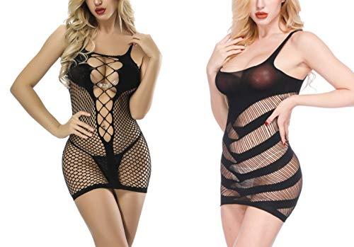 DOUSENI 2 Pack Women Fishnet See Through Sleepwear Chemises Babydoll Lingerie Mini Dress