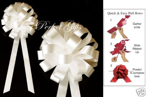 your_perfect_gifts 10 IVORY WEDDING 8'' PULL BOW PEW BRIDAL CAKE DECORATION