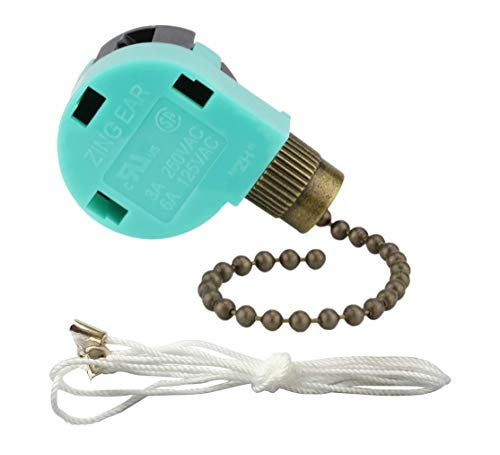 ZE-268s6 Ceiling Fan Switch Zing Ear 3-Speed 4-Wire Pull Chain Cord Switch (Antique Brass)