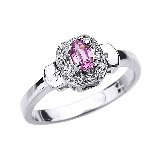 Solid 10k White Gold Beautiful Diamond and Pink Sapphire Engagement Ring (Size 5) Claddagh Pink Sapphire Ring