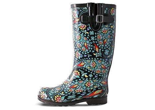 Nomad Women's Puddles Rain Boot B07CNKBN97 9 B(M) US|Black/Green Paisley