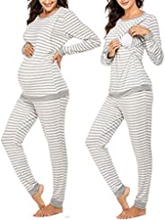 Ekouaer Maternity & Nursing Thermal Underwear Set Striped Knit Long Johns Set Top & Bottom Base Layer