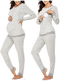 Ekouaer Maternity & Nursing Thermal Underwear Set Striped Knit Long Johns Set Top & Bottom Base Layer for Pregnant Women