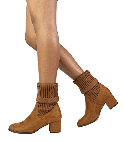 DREAM PAIRS Damen ANKLEG Chunky Heel Ankle Booties Tan-s