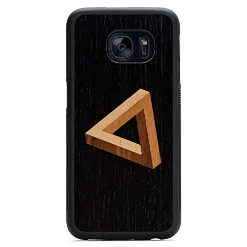 Wood Traveler Case (Carved Penrose Triangle Inlay Samsung Galaxy S7 edge Traveler Wood Case - Black Protective Bumper with Real All Wooden)