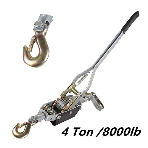 Zorvo 4 Ton Dual Gear Power Puller 8000lb Hand Puller Winch Hoist Hoist Ratchet 1 Hook