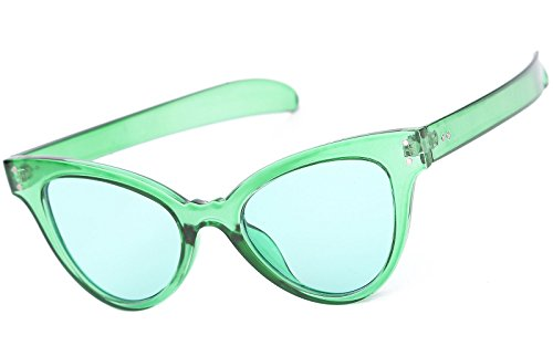 Beison Classic Womens Cat Eye Glasses Sunglasses Tinted Lens UV400 Protection (Green frame / Green lens, - Cat Green Glasses Eye