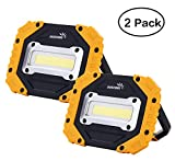 Portable LED Work Light, COB Flood Lights, Job Site Lighting, Super Bright Waterproof for Outdoor Camping Hiking Car Repairing Fishing Workshop Battery Included with Emergency SOS Model