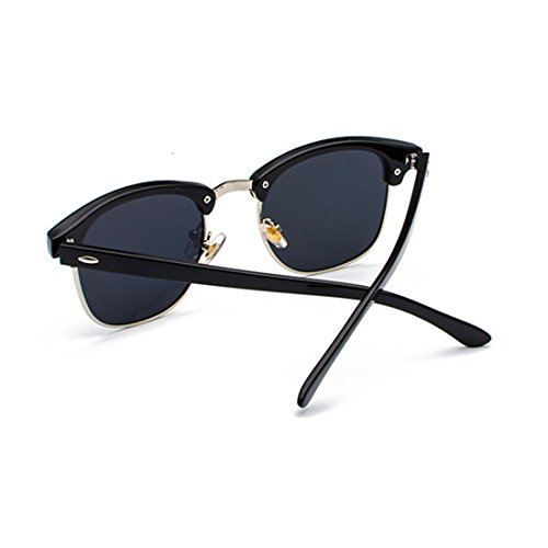 sol Gris retro UV400 Medio hombres Mujeres Gafas y Negro marco Inlefen lentes de Plata polarizados wxTFqIn6