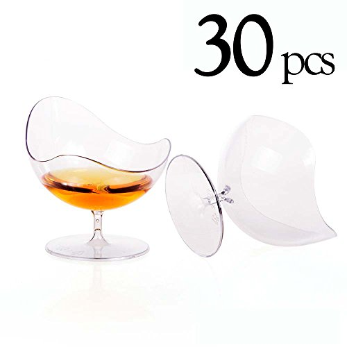 Dokio 30 Pcs/set Disposable Footed Glass Dessert Cups Dishes Bowls - Mini Clear Tasting Sample Shot Glasses Plastic Cups