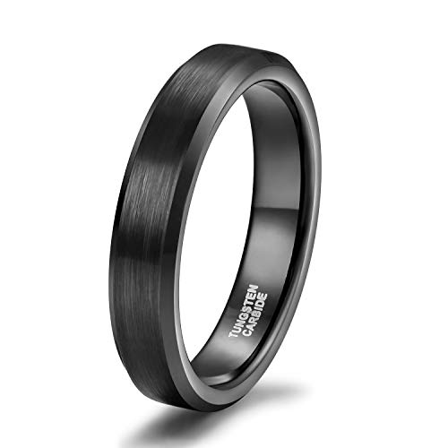 - 4mm Slim Black Tungsten Carbide Ring Band for Men Women Beveled Edges Brushed Comfort Fit