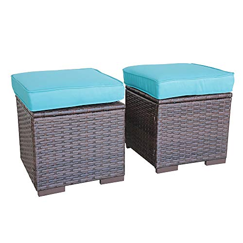 OC Orange-Casual 2 Piece Patio Rattan Ottoman, All Weather Wicker Ottoman with Blue Cushion, Brown Wicker ...