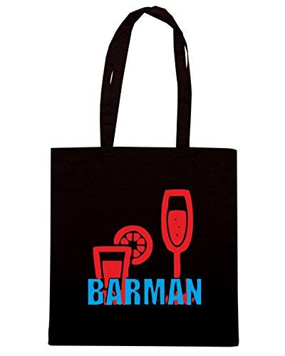 T-Shirtshock - Bolsa para la compra BEER0158 Barman-Magliette (6) Negro