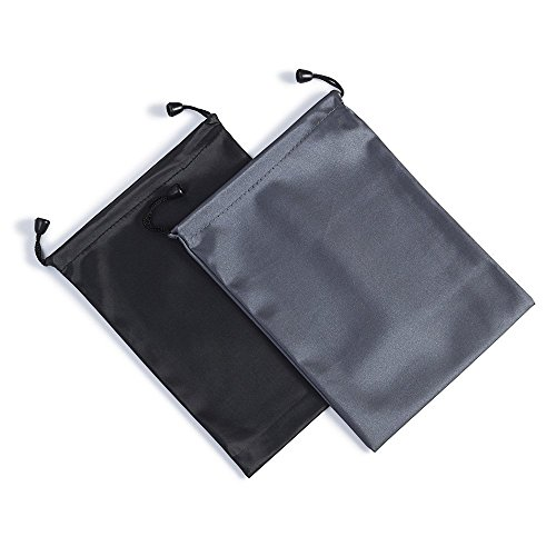 GLCON [Set of 2] Waterproof Black Small Carrying Storage Pouch Case Canvas Bags for iPhones Coins and iPad Mini,Bag for Headset Earphones Protection of Power Bank Phone PS Vita PSP Video/Audio Player
