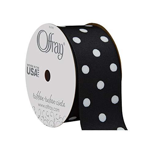 Offray Grosgrain Polka Dot Craft Ribbon, 1 1/2-Inch x 9-Feet, Black & White