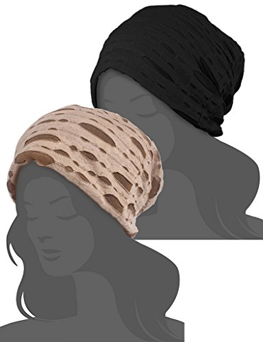 I wish Womens Cotton Chemo Hat Beanie Scarf - Beanie Cap Bandana for Cancer Black Brown 2 Pack - Brown Cotton Beanie