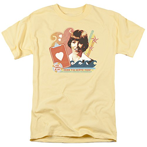 The Love Boat Julie HERE to Serve Yellow Adult T-Shirt Tee Shirt, Medium -
