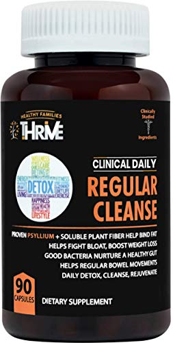 CLINICAL DAILY Regular Cleanse Psyllium Husk Powder Fiber Pills Colon Cleanser, Weight Loss Detox. Pure Health for Women and Men. W Flaxseed, Glucomannan, Bran, Aloe Vera. Plus Probiotic. 90 Capsules (Best Fiber Pills For Constipation)