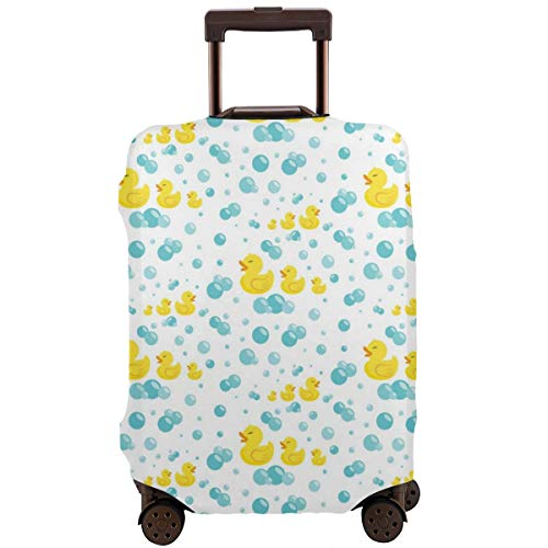 NELife Travel Suitcase Protector Rubber Ducks with Soap Bubbles Elastic Protective Washable Suitcase Cover with Concealed Zipper Suitable for 18-32 Inch
