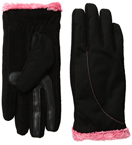 isotoner-womens-softshell-smartouch-gloves-black-rouge-red-small-medium