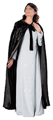 Black Adult Midnight Cape (HolyClothing Lilith Renaissance Velvet & Satin Medieval Hooded Cloak Cape - 3X-Large - Black)