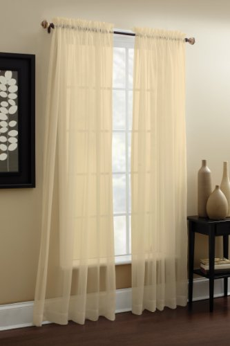 Croscill Denise Sheer Tailored Panel, 84-Inch, Ivory (Croscill Bedding Window)