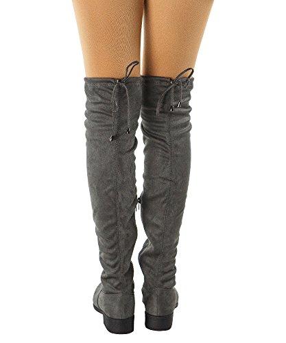 RF RAUM DER MODE Frauen Overknee Low Block Heel Pull Stretch-Stiefel - Erhältlich in mittleren und breiten Kalb Holzkohle Su - Mittleres Kalb