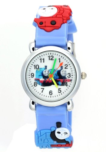 Price comparison product image Timermall Thomas and Friends Kids White Dial Light Blue Rubber Watchband Analogue Quartz Watches