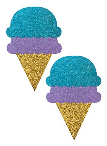 Ice Cream Glitter Festival Rave Pasties (Pair, Set of 2)