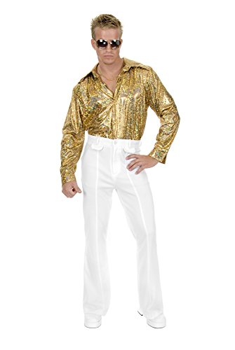 Charades Men's Plus Size Glitter Disco Shirt, Gold, 1X
