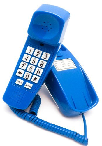 Trimline Corded Phone - Phones For Seniors - Phone for hearing impaired - Classic Blue - Retro...