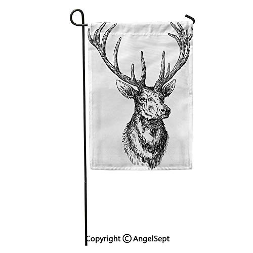 Durable Creative Design 12x18in Garden Flag Antler Deer Stag Sketch Animal Head Ears Hoofed White Home Yard House Decor Outdoor Stand