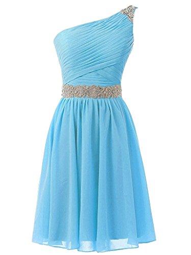 AN95 Chiffon Homecoming Dress Anlin Blue Shoulder Women's Prom Short Beaded One Yqwzqfg
