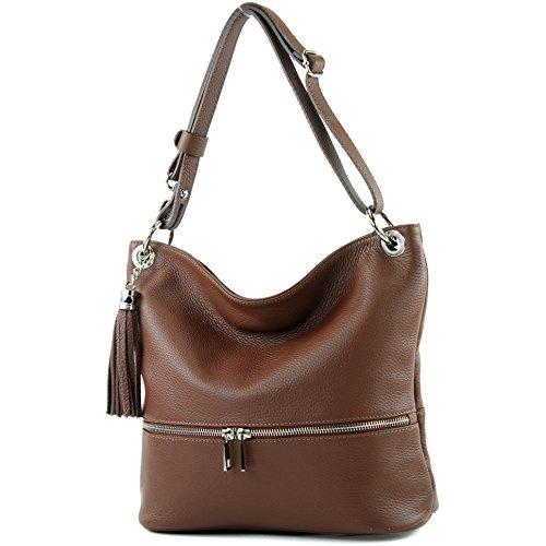 sac ital en cuir T143 cuir modamoda sac d'épaule dames en sac épaule de Brown EqUCRHB