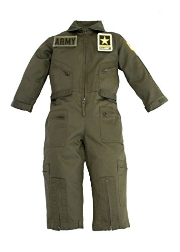 Kids Military Pilot Airman OD Green Flight Suit US Army Patches X-Small 4-5 - Air Pilot Costumes