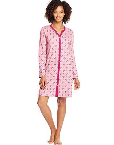 Hanes Womens Faux Button Front Sleepshirt, M, Winter (Faux Button Front)