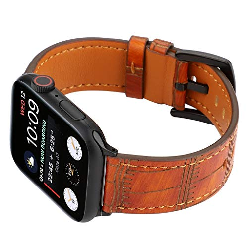 Sodoop Compatible iWatch Band 42/44mm, Classics Bamboo Texture Genuine Leather Bands Replacement Strap Wristbands Compatible for Apple Watch Series 4/3/2/1