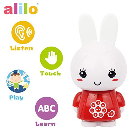 - alilo Honey Bunny Story Teller Nursery Rhyme Lullaby Song Bedtime Story Fairy-Tale Interactive Children Brain Kids Early Development Learning Toy Training Bluetooth English Chinese Bilingual G6X Red