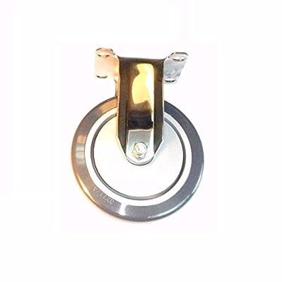 "Stainless Steel Hospital Grade Rigid Caster with 5"" x 1-1/4"" Polyurethane Wheel"