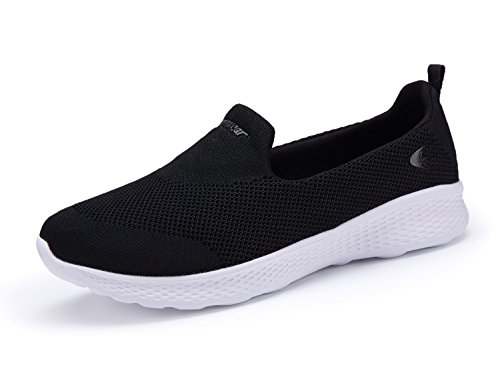 Slip Walking 2931 Shoes On Women's Sneakers Black Casual White Mesh CqgB7x