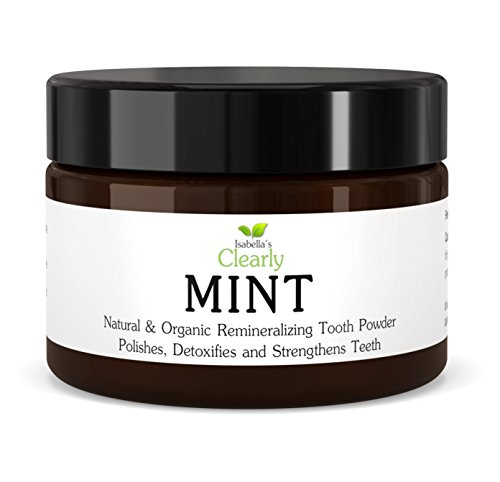 Isabella's Clearly Mint, Natural Remineralizing Tooth Powder to Strengthen, Polish & Detoxify Teeth. Fluoride-Free, High Mineral, Whitening Powdered Toothpaste for Adults and Kids (3.4 Oz)