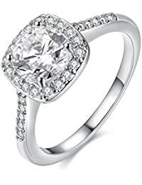 Eternal Love Women's 18K Rose/White Gold Plated CZ Crystal Engagement Rings Best Promise Rings Anniversary Wedding Bands for Lady Girl