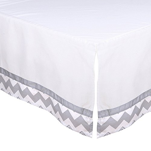 White Tailored Crib Dust Ruffle with Grey Chevron Trim by The Peanut Shell