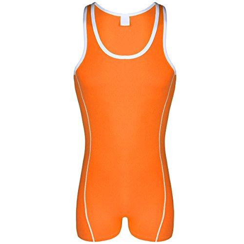 Freebily Mens One Piece Solid Modified Wrestling Singlet Bodysuit Leotard Outfit Underwear