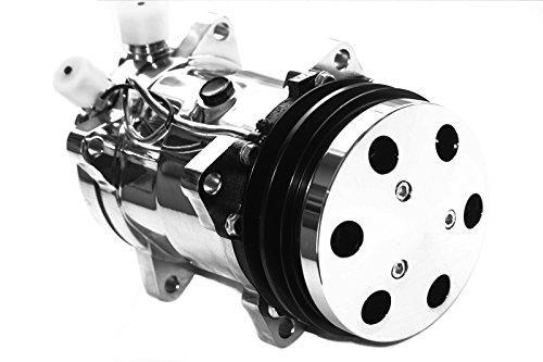 Chrome Air Compressor Cover - Universal Sanden 508 12v Chrome A/C Compressor V-Belt w/ Chrome Clutch Cover