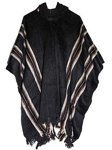 Gamboa – 100% Alpaca – Echte Poncho – Hooded – Zwart met bruine lijnen