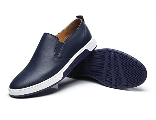 Xmwealthy Casual Britse Stijl Slip Op Loafers Flats Zakelijke Jurk Schoenen Blauw